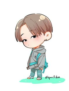 Cre on pic Kim Jinhwan, Hanbin, Ikon Wallpaper, Cartoon Wallpaper, Jay Song, Love Art, Chibi, Animation, Fan Art