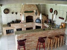"Resultado de imagem para ""trio fogao a lenha forno de pizza churrasqueira . Backyard Kitchen, Summer Kitchen, Outdoor Kitchen Design, Bbq Grill, Barbecue, Mexico House, Sweet Home, Outdoor Oven, Bbq Area"