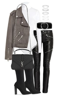 """Untitled #2922"" by theeuropeancloset on Polyvore featuring Yves Saint Laurent, Wolford and Belk Silverworks"