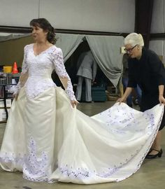 Janey and our favorite bridal consultant ... Dress rehearsal in the warehouse ... A Catered Affair ... #mta2015
