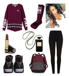 """All eyez on yhu"" by miyaaonfleek02 ❤ liked on Polyvore featuring Victoria's Secret PINK, River Island and Gucci"