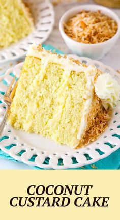 This Coconut Custard Cake is made with layers of moist coconut cake, a creamy coconut custard and coconut cream cheese frosting! It's absolutely delicious and a dream cake for any coconut lover! Custard Cake, Coconut Custard, Coconut Cream, No Bake Desserts, Delicious Desserts, Dessert Recipes, Yummy Food, Best Cake Recipes, Dream Cake