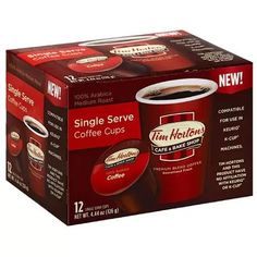 Tim Hortons 100% Arabica Medium Roast Coffee Single Serve Cups, 12 count, 4.44 oz, (Pack of 6)