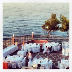 Balcony reception set up on the popular Greek island of Zante