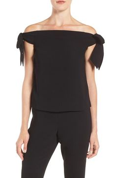 Free shipping and returns on Olivia Palmero Chelsea28 Off the Shoulder Top at Nordstrom.com. A boxy shape adds streamlined contrast to a romantic black top framed with bouncy, ladylike bows and a flirtatious off-the-shoulder neckline. The evening-ready look is designed in collaboration with fashion muse and street-style star Olivia Palermo.
