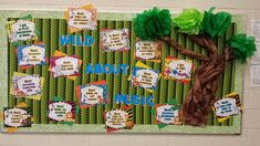 Pursuit of Joyfulness: Celebrating Music In Our Schools Month Wild About Music Bulletin Board for the elementary music classroom. Music Education Activities, Music Bulletin Boards, Music Classroom, Music Teachers, Classroom Decor, Teacher Blogs, Teacher Stuff, Music And Movement, Elementary Music