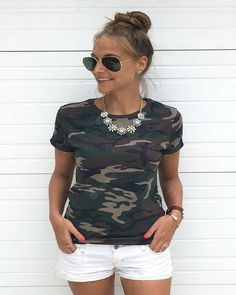 Femmes Hot Summer Casual Mode Camouflage Imprimer T-shirt Mince Coton À Manches Courtes T-shirt Top Camo Shirt Outfit, Camo Shorts, Camo Outfits, Mode Camouflage, Camouflage T Shirts, Camouflage Fashion, Camo Top, Women's Camo, Outfits Mujer