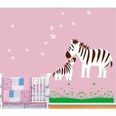 Baby Zebra and Mother Play with Butterfly Wall Sticker