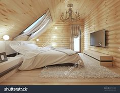 Luxurious Bedroom In Modern Style, With A Roof Window In The Log House. Tv With A Media Console. 3d Render. Stock Photo 397731895 : Shutterstock