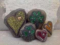 Shamrocks and Hearts /Mosaic Garden Stones