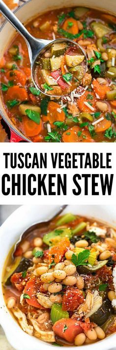 Tuscan Vegetable Chicken Stew is so comforting and full of hearty vegetables, white beans and chicken. Super easy to make and perfect for busy weeknights!