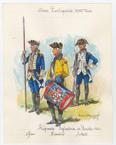 Portugese; Regimento Infanteria de Peniche, Officer, Drummer & Soldier, 1764 by Louis Beaufort