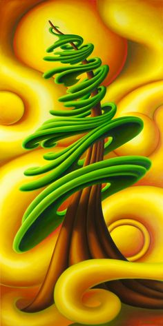 Inside the Golden Wind, 2012 by Dana Irving Yellow Art, Mellow Yellow, Elements And Principles, Tree Illustration, Naive Art, Flag Design, Pictures To Paint, Tree Art, Fractal Art
