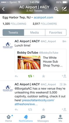 The Atlantic City airport promoting my blog about the White House sub shop