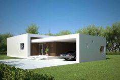 Fachada de casa minimalista con piscina