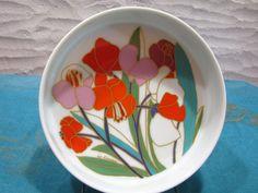 Rosenthal studio-line Bowl Plate – vintage 1970s Design Bauer – Décor Spring Flowers – Colourful Poppy Blossoms White German Porcelain…