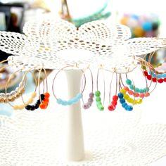 Coloré 14K perles GF Hoops