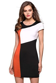 Amazon.com: FINEJO Ladies Women Cap Sleeve Patchwork Bodycon Party Slim Dress Orange-XL: Clothing