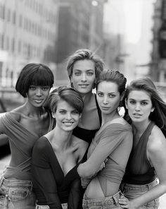 "Naomi Campbell, Linda Evangelista, Tatiana Patitz, Christy Turlington, Cindy Crawford, New York ""Peter Lindbergh: A Different History of Fashion"" Venue: Kunsthal Rotterdam (2016-2017)"