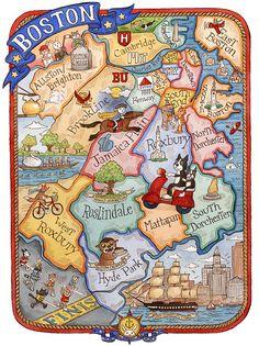 Boston, Massachusetts neighborhood map