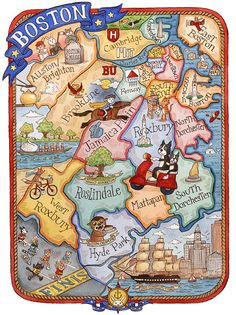 "Boston Massachusetts Neighborhood Map Art Print 11"" x 14"""