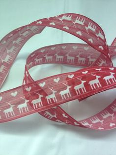 Gorgeous Linen Christmas Ribbon in Red & White with Reindeer & Hearts! #christmas #red #heart #reindeer #ribbon #festive
