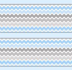 BLUE GREY OMBRE Chevron Wallpaper Border Wall Decals Boy Nursery Art Stickers Baby Room Decor Kids Childrens Zigzag Abstract Gray Bedroom #decampstudios