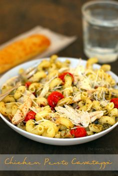 Chicken Pesto Cavatappi Recipe made with a @Gold'n Plump Whole Seasoned Chicken topped with oven roasted tomatoes. #recipe #sponsored #pasta