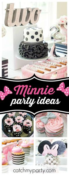Don't miss this gorgeous pink & black Minne Mouse birthday party! The dessert table is so beautiful!! See more party ideas and share yours at CatchMyParty.com