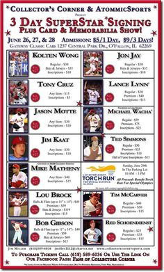 3 DAY SUPER STAR AUTOGRAPHS AND TRADE SHOW  JUNE 26-29!  Tickets for the 3 day show are on sale buy them here click link http://78COBRAS.eventbee.com/event?eid=161832681 ALL TICKETS SALES ARE FINAL UNLESS A PLAYER SHOULD CANCEL