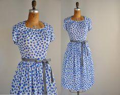 vintage 1950s 50s dress // nylon jersey full skirt dress // Ocean Rain. $88.00, via Etsy.