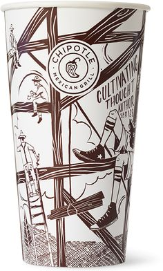 Chipotle beverage packaging, illustrated by Noah Macmilllan