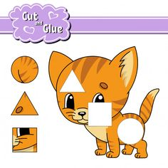 Cut And Glue Geometric Shapes Worksheet Shapes Worksheets, Worksheets For Kids, Toddler Learning Activities, Book Activities, Shape Templates, Ppt Template, Animal Puzzle, Paper Games, Kindergarten Math Worksheets