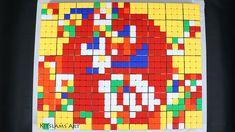 Rubik's Cube Mosaic of Red M&M. Pixel art M&M made with Rubik's Cubes. Rubiks Cube Algorithms, 8 Bit Art, Speed Art, Candy Art, Rubik's Cube, Cube Puzzle, Crayon Art, Color Pencil Art, Marker Art