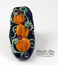 Starcked Pumpkins Focal Bead, ArtisanMade Lampwork, Black, Orange, Halloween, Ba
