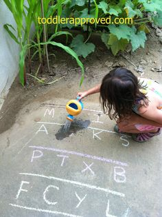 Here is a fun activity just in time for Spring.  Water an alphabet garden!  Great idea for letter knowledge!!