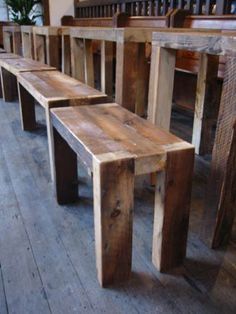 retrouvius, reclaimed wood. this would be neat to make my bar stools like this.
