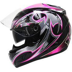 Hawk Women's Dual Visor Black/Pink Glossy Full Face Motorcycle Helmet - LeatherUp.com
