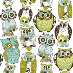 green and brown owls