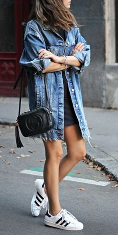 summer outfits Denim Jacket + Navy Dress + White Sneakers
