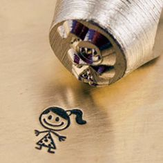 Girl stick figure metal stamp for hand stamping. $8.95, via Etsy.