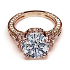 Engagement Ring - Large Round Diamond Cathedral Graduated pave... ❤ liked on Polyvore