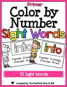 Color by Number Sight Words UPDATED! I love everything from the Moffatt Girls
