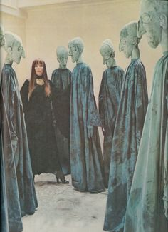 penelope tree, surrounded by sculptures by eva aeppli, photographed by cecil beaton for vogue uk, october 1972.  creepy art