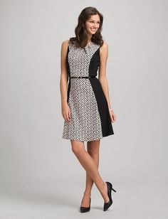 Belted Geometric Fit-and-Flare Dress from dressbarn on Catalog Spree