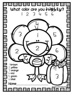 Thanksgiving Math: Color by Number Addition & Subtraction ...