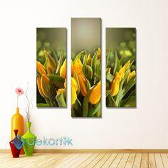 Floral Yellow Tulips Tablo #parçalı_kanvas_tablolar