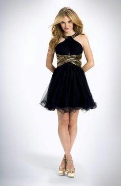 Blondie Nites Juniors Prom Dress 7 Gold Beading Navy Blue Glamorous Open Back