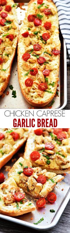 Chicken Caprese Garl Chicken Caprese Garlic Bread - Life In The Lofthouse Yummy Appetizers, Appetizer Recipes, Quiche, Caprese Chicken, Garlic Bread, Garlic Knots, I Love Food, Italian Recipes, Italian Dishes