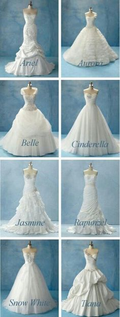 Disney wedding dresses. Styled after the princesses of course, since every bride should be a princess.
